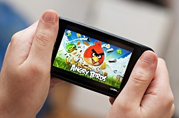 Playing Angry Birds on a smartphone